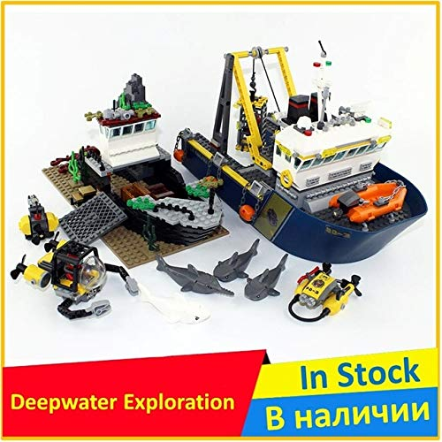 DishyKooker Deepwater Exploration Vessel 60095 Building Block Model 02012 Compatibile Legoing con City Figure Brick Giocattoli educativi