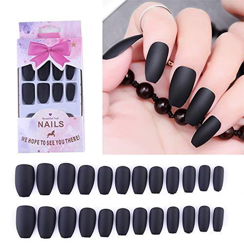 (Boxed 24Pcs Matte For Long False Nails Wine Black Nail Art Forms Manicure Reused Fake Extension Tips Black)