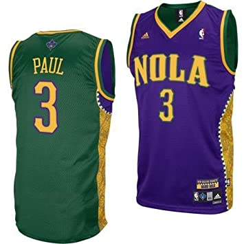 adidas New Orleans Hornets  3 Chris Paul Gold-Purple-Green Mardi Gras  Swingman b7fc76b14