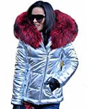 Aofur Women Casual Down Parka Jacket Warm Lined Trench Coat (X-Large, Silver)