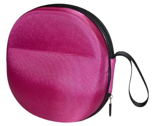 Sturdy Hard Shell Headphone Carrying Case, Headset Storage for Travel | Impact Protection for Sony, Sennheiser, Beats & More | Pink Ballistic Nylon, Large