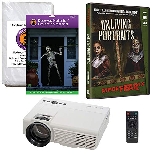 Halloween Window Projection Kit Includes 1200 Lumen Projector, Hollusion Projection Screen(D) Reaper Bros. Window Projection Screen. AtmosFearFx Unliving Portraits on DVD]()
