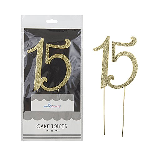 Mega Crafts Sparkly Gold Rhinestone Number 15 Cake Topper Decoration | Shimmering Gold Crystals & Durable Alloy Metal | For Birthdays, Anniversaries, Centerpieces, Party Favors, Celebrations & More
