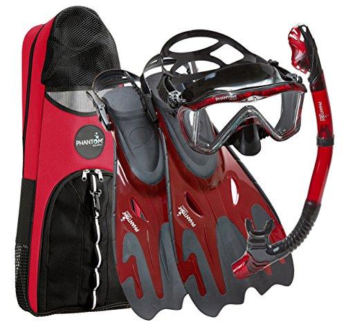 Phantom Aquatics Legendary Mask Fin Snorkel Set with Mesh Bag, Black/Red,...
