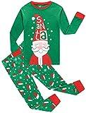 Christmas Pajamas Girls Boys Green Santa Clothes 100% Cotton PJS Gift Set Kids Sleepwear 6t