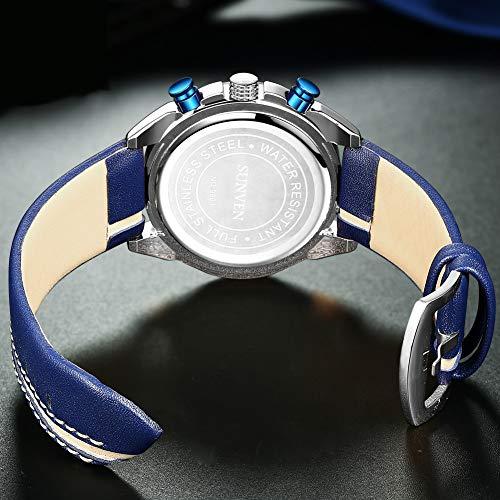 SUNVEN Men\'s Watches Waterproof Quartz - Business Wristwatch Gold Stainless Steel Sapphire Face Multi-Function Displays Luminous Hands 2019 Design (BlueLS)