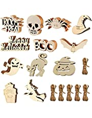 MEMOVAN Halloween Wooden Slices, 60pcs Halloween Hanging Tags Halloween Unfinished Predrilled Wood Ornaments Halloween Cutouts Crafts with Twine Ropes for Halloween Ornaments Hanging Party Decoration