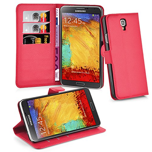 Cadorabo - Book Style Wallet Design for Samsung Galaxy NOTE 3 NEO (N7505) with 2 Card Slots and Stand Function - Etui Case Cover Protection Pouch in CANDY-APPLE-RED