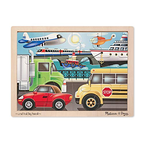 Melissa & Doug On-the-Go Vehicles Wooden Jigsaw Puzzle With Storage Tray (12 pcs) (12 Piece Wooden Puzzle)