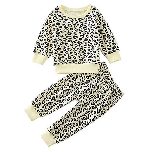 Toddler Baby Girls Leopard Print Summer Clothes Set T-Shirt and Short Pants 2pcs Outfits (5-Light Yellow(Long Sleeve), 1T) ()