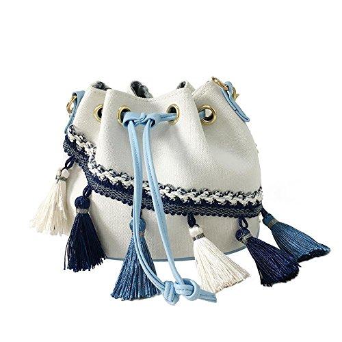 Porté Cabina Ethniques pour Toile Bandoulière Gland à Crossbody Sac Seau Bag Sac Fille Blanc Chaîne épaule Bandoulière La Femmes SfqA6AB