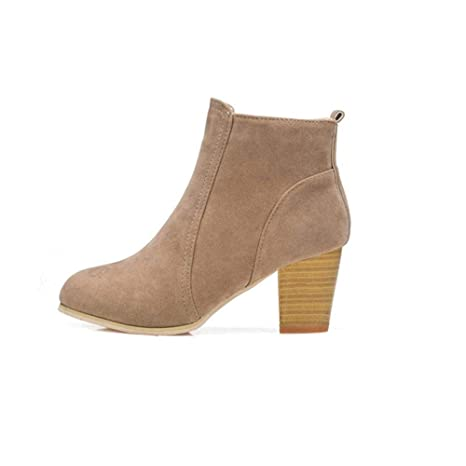 Logobeing Botines Mujer Tacon Invierno Planos Tacon Ancho Piel Botas de Mujer Medio Zapatos Combat Casual