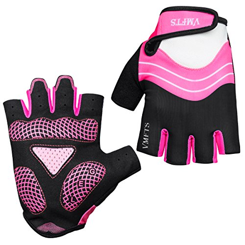VMFTS Cycling Gloves Gel Pading Fingerless Sporting Glove for Weightlifting Racing Biking Climbing Parkour Running,Pink Medium
