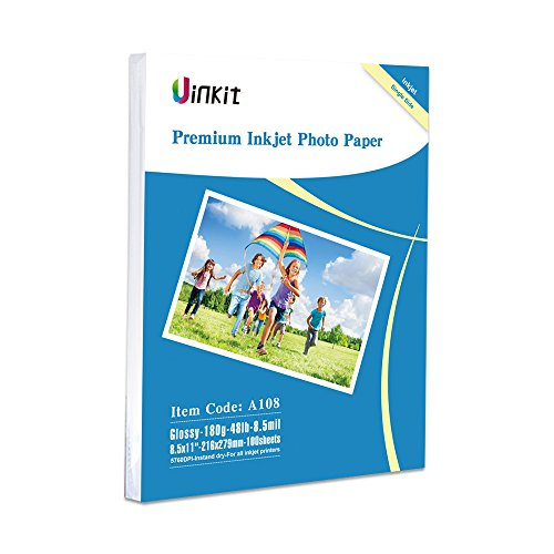 Glossy Photo Everyday Paper - Glossy Photo Paper 8.5x11-100Sheets Uinkit Inkjet Paper 8.5Mil 180Gsm for Inkjet Printer