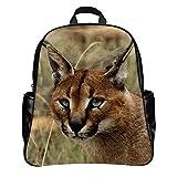 NIWAHO Custom CARACAL EYES FACE WILD CAT PU Leather Student School Bag Multi-pocket Backpack