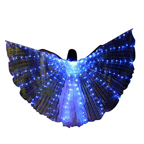 Obteun Women Colorful Butter Flies Wings LED Belly Dance Wings Clothing Dance Costumes with Telescopic Stick (1#, Blue)]()