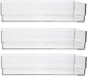 """Clear Plastic Drawer Organizers 9"""" x 6"""" x 2"""" l Set of 3"""