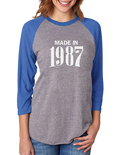 Tstars Made In 1987 Retro 30th Birthday Gift 3/4 Women Sleeve Baseball Jersey Shirt