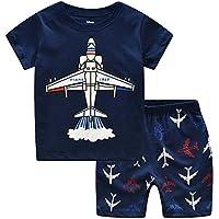 Little Boys Pajamas Shorts Set for Toddler Summer Clothes Trian Dinosaur Sleepwear Cotton 2 Piece Kids Pjs Size 1-8 Years