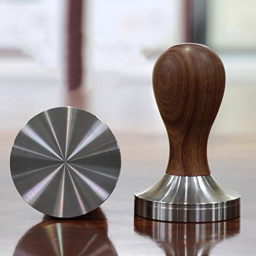 TraderPlus Adjustable Wooden Handle Coffee Tamper, Espresso Presser with 58 mm Stainless Steel Flat Base - Barista Tools (Wooden Handle - Brown) by TRADERPLUS (Image #1)