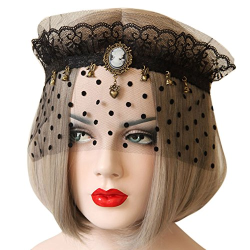 Mask Beaded Masquerade (BessWedding Sexy Lace Masquerade Ball Mask with Veil Black Mask Cosplay)
