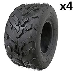 JCMOTO 16x8-7 Tubeless Tire for ATV Go Kart Quad UTV Buggy 4 Four Wheeler 50cc to 125cc | 205/55-7 (Pack of 4)