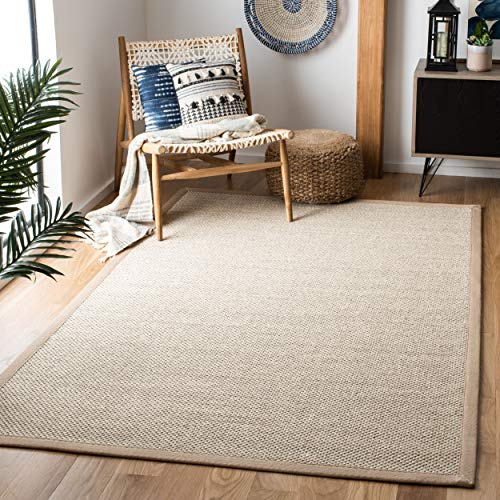 - Safavieh Natural Fiber Collection NF143B Marble and Linen Sisal Area Rug (8' x 10')