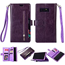 Galaxy Note 8 Wallet Case, Leather [9 Card slots] [photo & wallet pocket]