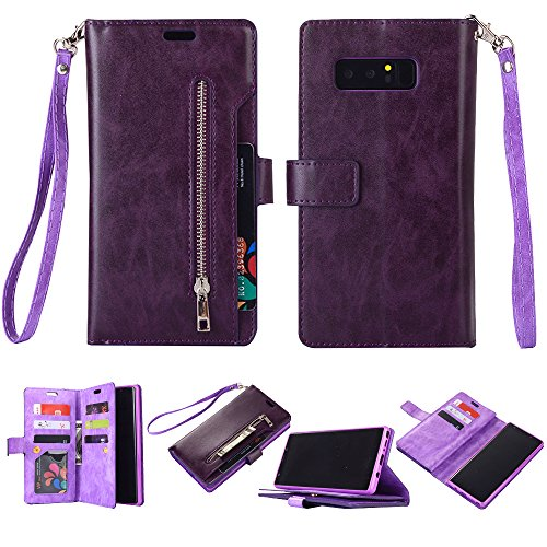 Galaxy Note 8 Case, SUPZY Leather [9 Card slots] [photo & wallet pocket] Multi-function Premium PU Leather Magnetic Flip Shockproof Zipper Wallet Case Cover for Samsung Galaxy Note 8 (Purple)