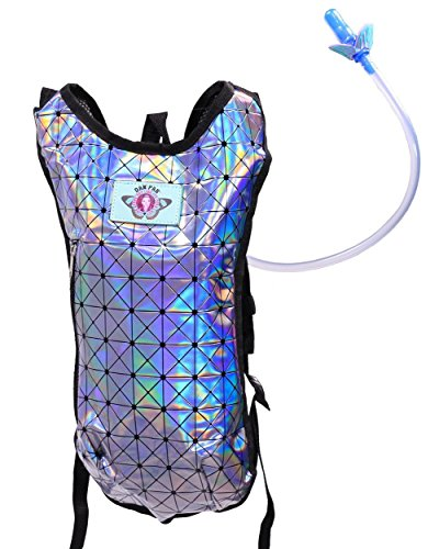 iHeartRaves Holographic Disco Lavendar Hydration Backpack - 2L BPA Free Water Bladder for Festivals, Raves, Hiking and More
