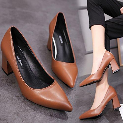 con chiaro punta Xue tacco 37 Wild scarpe nero spessore femminile scarpe color alto Qiqi con tacco marrone caramello professionale wUSUI1Fq