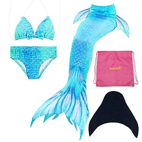 SAIANKE Mermaid Tails for Swimming,Grils Swimsuit with Monofin,5 Pcs Sets Swimmable -