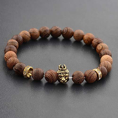 (Werrox Natural Gemstone Beads Buddha Head Beaded Men Womens Lava Rock Bracelet   Model BRCLT - 2324  )