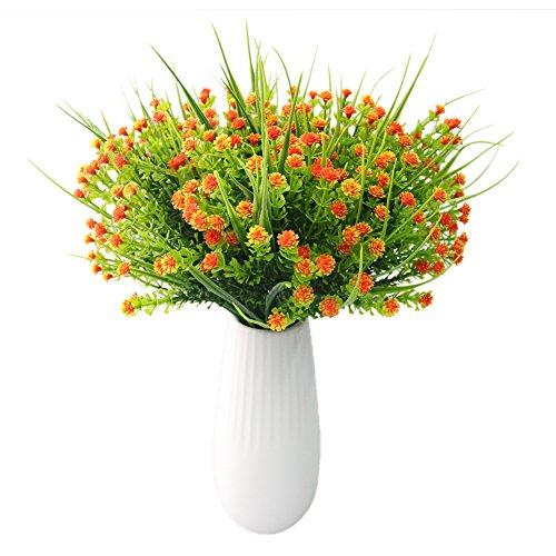 Medium Calla Lily Spray (JAROWN 6 pcs Artificial Flowers Multiflora Plastic Baby Breath Fake Plants Bouquets for Home Garden Decoration (Orange))
