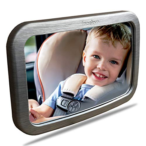 Baby Mirror for Car | Baby Car Mirror | Huge Wide-Angled Without Shaking | TPU Soft Frame | Silver Metal Printing by ()