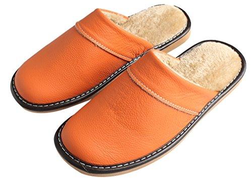 Cattior Doublure En Fourrure Chaude Intérieure En Cuir Extérieur Pantoufles Chaussures Femme Maison Orange