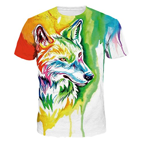 (Mclochy Unisex 3D Wolf T Shirts Couples Summer Short Sleeve T-Shirts Casual Tees (Asian M = US S, Watercolor Wolf))