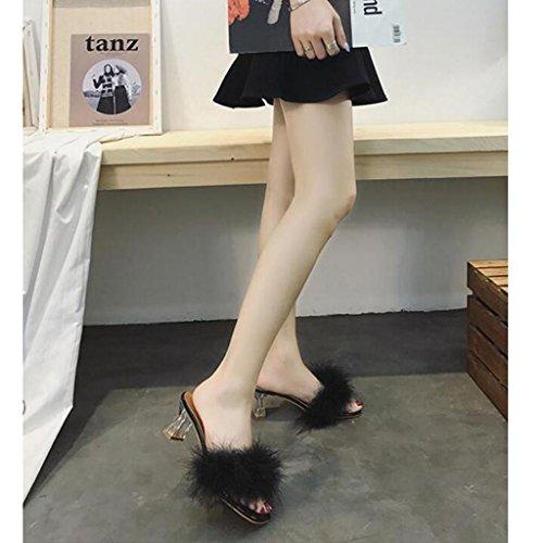 Xy® EU39 D'été UK6 Poilu Talon Black en De Plein CN39 Épais Flop Pantoufles Talon Cool Taille Mode Couleur Black Air Flip Femme Mi Sandales rRq5Xx1wr
