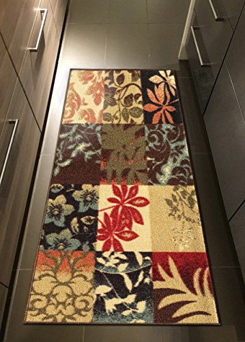 Kapaqua Custom Size Brown Floral Panel Boxes Rubber Backed Non-Slip Hallway Stair Runner Rug Carpet 31 inch Wide Choose Your Length 31in X 26ft