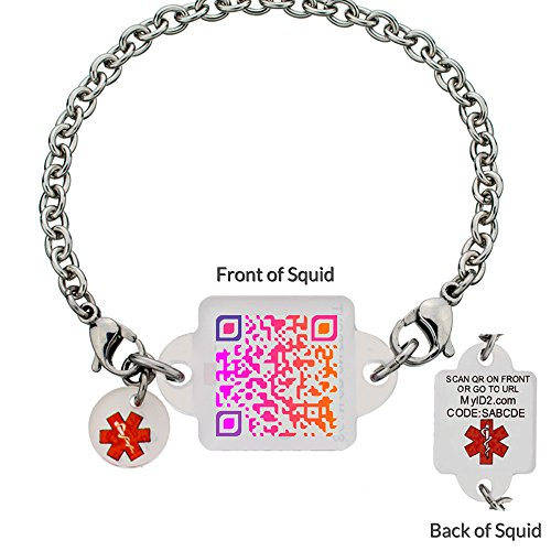 Medical ID Bracelet - Brilliant Sunset Squid Square - - My Id Square
