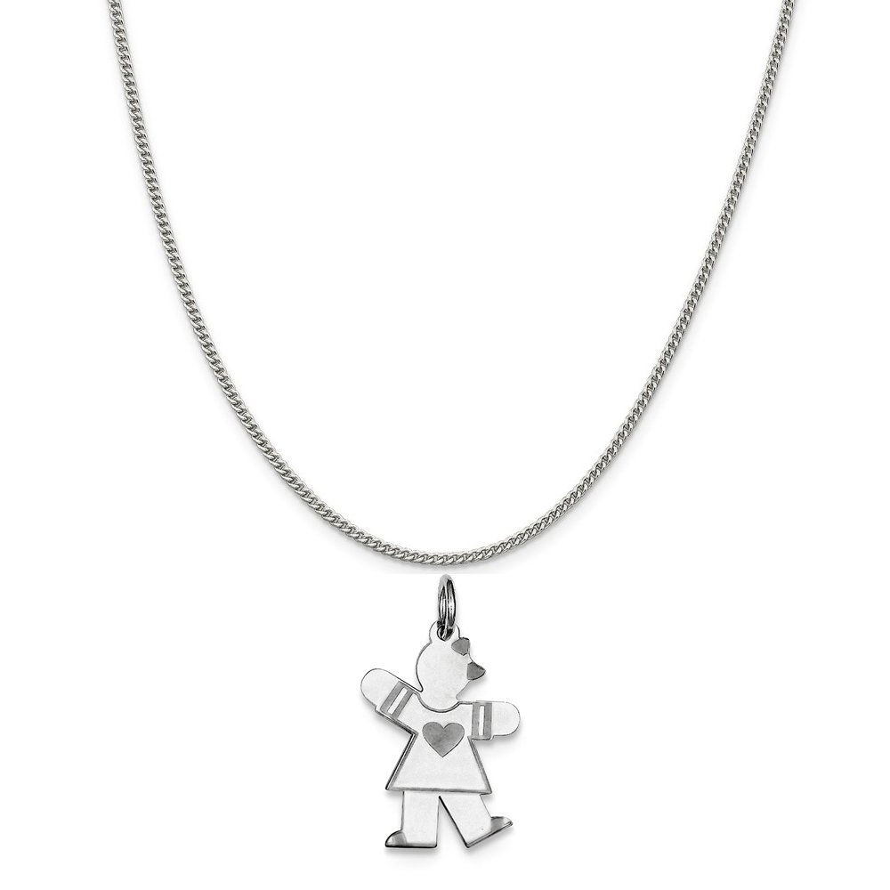 Mireval Sterling Silver Small Charm on a Sterling Silver Chain Necklace 16-20