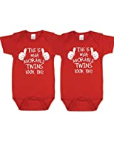 Unisex Twin Onesies, Includes 2 Bodysuits, Twin 1 Twin 2, Womb mates
