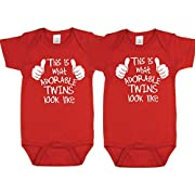 Nursery Decals and More Adorable Twin Boy Bodysuits, Includes 2 Bodysuits, 0-3 Month Adorable Twins
