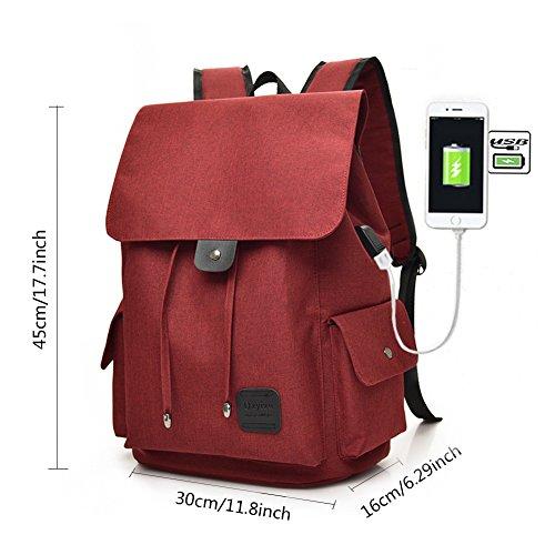 Fastar Mochila de Lona Mochila Portátil con Puerto de Carga Externa USB para Hombre y Mujer Rojo