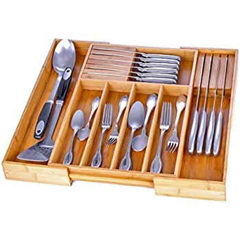 Beautiful Utensil Drawer Organizer Bamboo Silverware Organizer Expandable Kitchen  Drawer Organizer Cutlery Tray With 2 Removable Knife