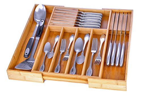 Utensil Drawer Organizer Bamboo Silverware Organizer Expandable Kitchen Drawer Organizer Cutlery Tray with 2 Removable Knife Blocks. By Bambusi (Kitchen Utensils Knives)