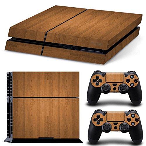 FriendlyTomato PS4 Console and DualShock 4 Controller Skin Set - Wooden Wood Design - PlayStation 4 Vinyl (Ps4 Wood Grain Skins)