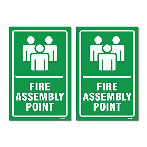 Stickers Assembly - (2 Pack) Fire Assembly Point Sign, Self-Adhesive Vinyl Stickers, Indoor and Outdoor Signs, 5.85 x 8.85