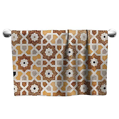 alisoso Antique,Hair Towel Detail of Inlay and Geometric Carvings Asian Taj Mahal Tomb Architecture Hotel Pool Towels Cream Orange Brown W 20