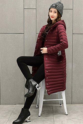 Bigood Coat Hooded Style Winter Simple Lengthen Red Long Women Down Wine Ladies rxzrwnBOq